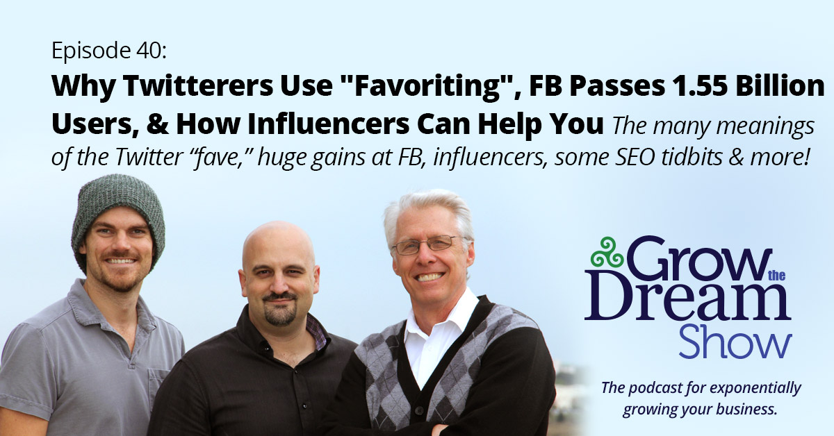 "#40 Why Twitterers Use ""Favoriting"", FB Passes 1.55 Billion Users, & How Influencers Can Help You"