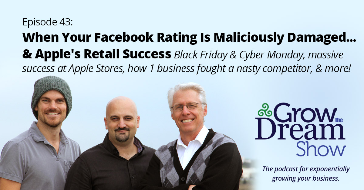 #43 When Your Facebook Rating Is Maliciously Damaged… & Apple's Retail Success